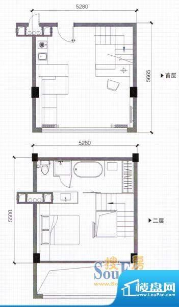 万仕酒店B2户型67面积:67.89m平米