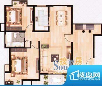 上海城经典两房02 2面积:109.48m平米