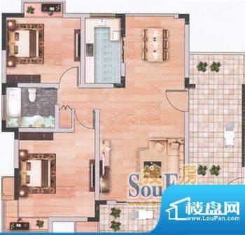 上海城二单元401/三面积:92.09m平米