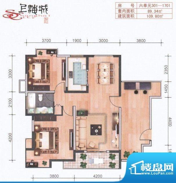 上海城六单元301-17面积:109.80m平米