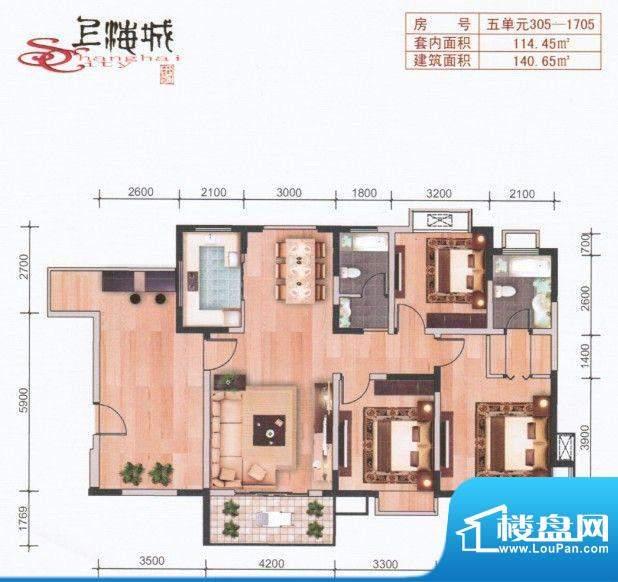上海城五单元305-17面积:140.65m平米