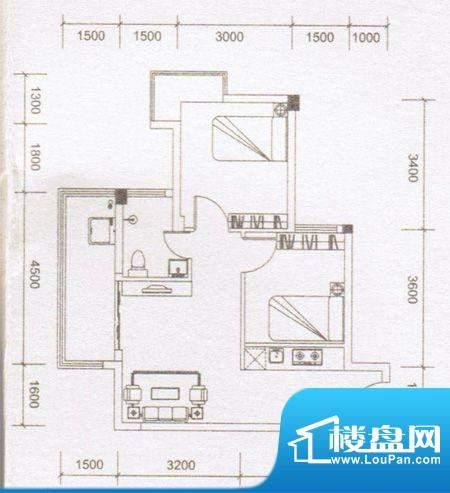 鼎湖时代05户型 2室面积:64.73m平米