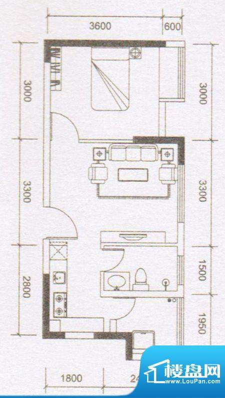 鼎湖时代01户型 1室面积:48.30m平米