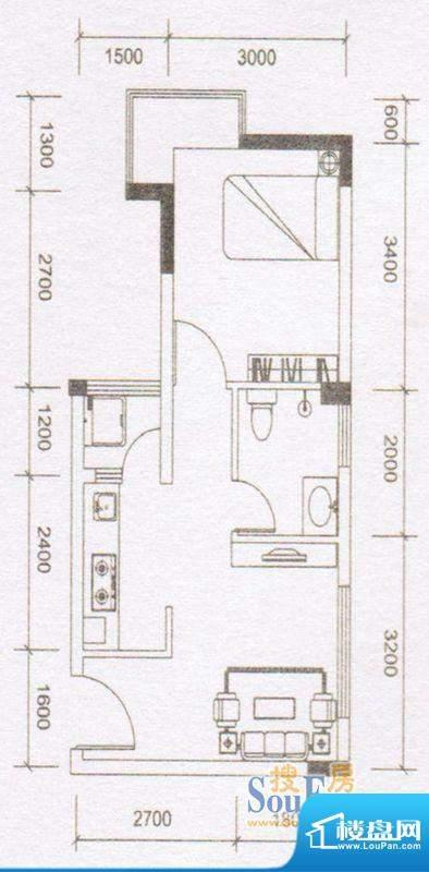 鼎湖时代02户型 1室面积:43.26m平米