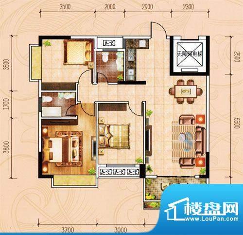 盈峰家园1-4座02单位面积:105.42m平米