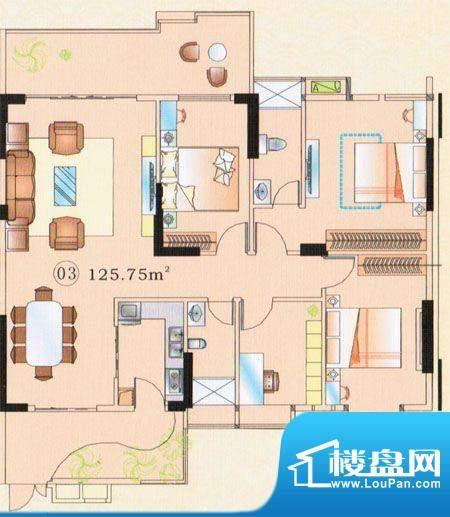 大唐盛世三期3幢03单面积:125.75m平米