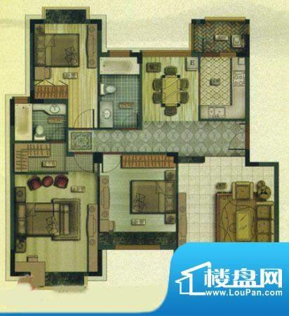 百盈国际B3户型 2室面积:90.00m平米