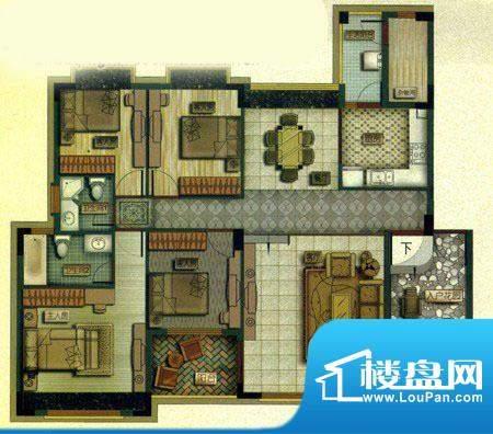 百盈国际B1户型 2室面积:90.00m平米