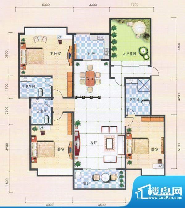 兴业花园一幢A座 3室面积:162.35m平米