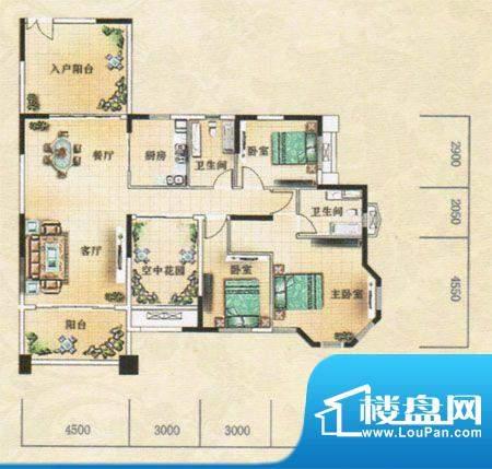 凯旋豪庭户型图 3室面积:148.87m平米