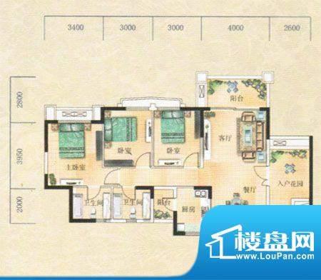 凯旋豪庭户型图 3室面积:115.49m平米