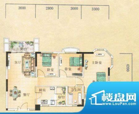 凯旋豪庭户型图 3室面积:99.32m平米