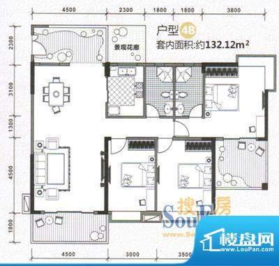 水木天骄4B户型图 3面积:0.00m平米