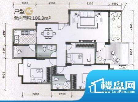 水木天骄4C户型图 3面积:0.00m平米