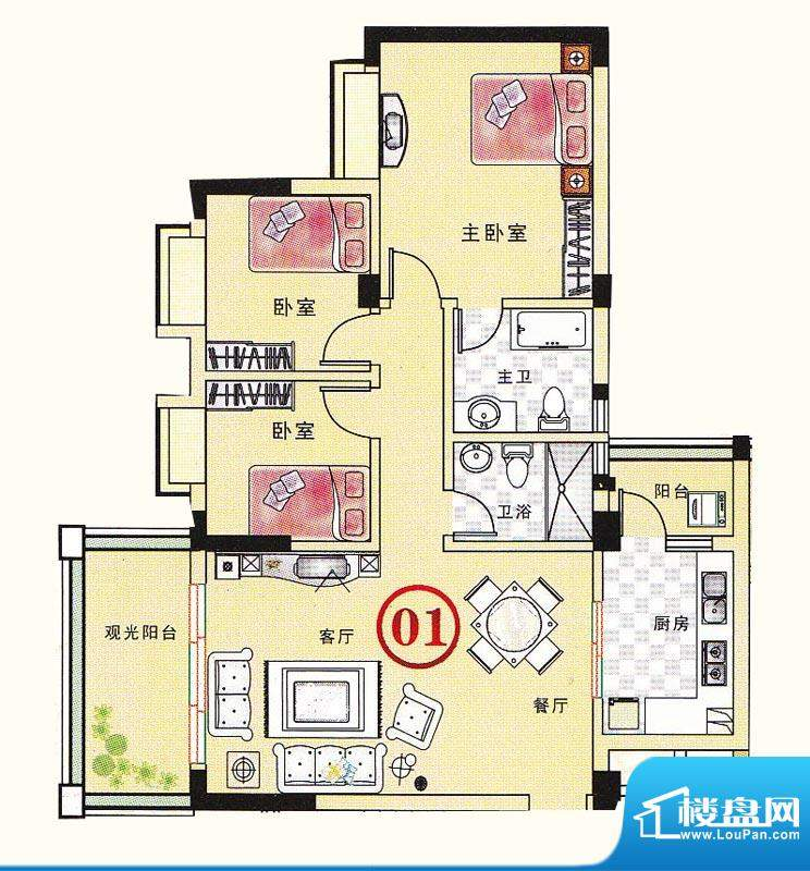 大丰豪庭二期4楼E栋面积:103.21m平米