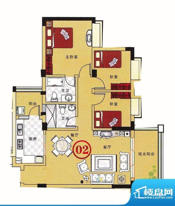 大丰豪庭二期4楼E栋面积:103.73m平米