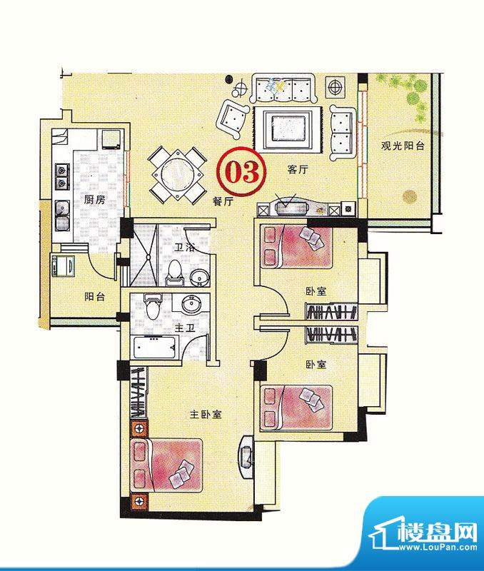大丰豪庭二期4楼E栋面积:103.51m平米