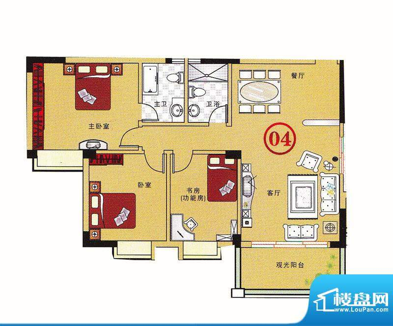 大丰豪庭二期4楼E栋面积:124.73m平米