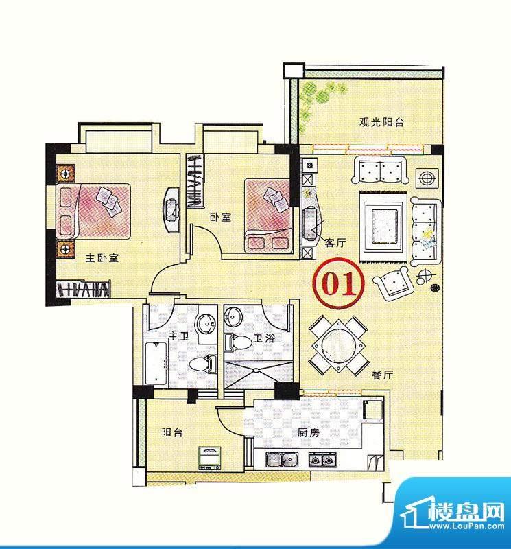 大丰豪庭二期4楼B栋面积:92.65m平米