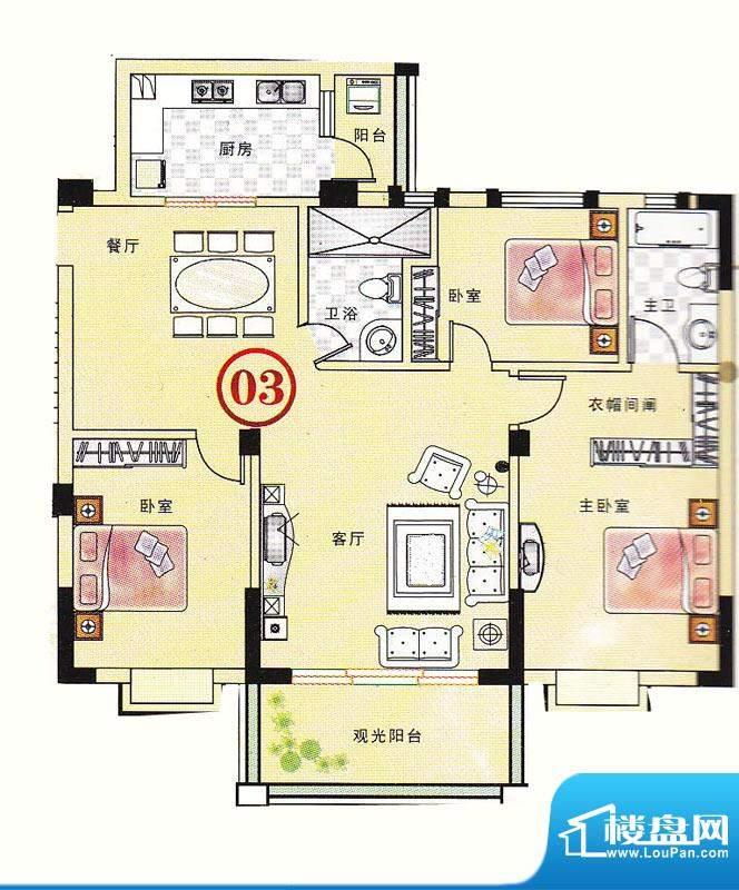 大丰豪庭二期4楼B栋面积:126.73m平米