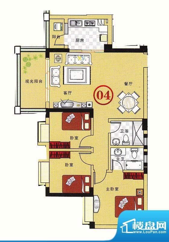 大丰豪庭二期4楼B栋面积:102.68m平米
