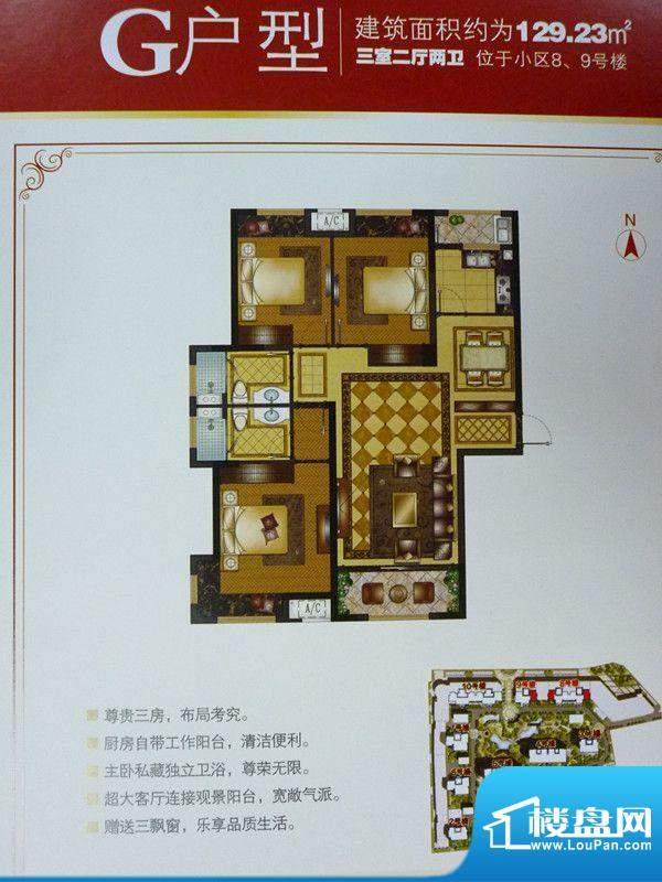 巨一首府G户型3室2厅面积:129.23平米