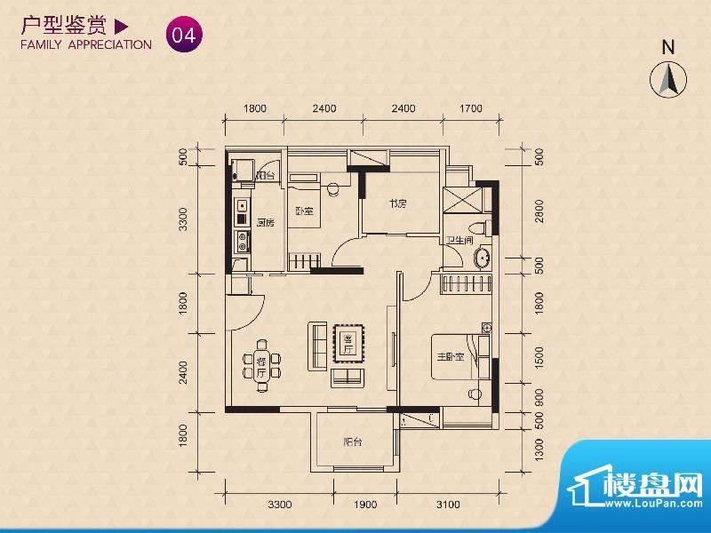 新世纪广场C/H栋04户面积:75.00m平米
