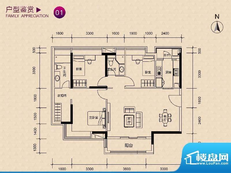 新世纪广场F/G栋01户面积:75.00m平米