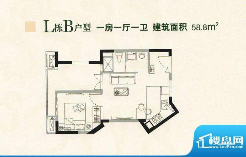 懿峰雅居L栋B型单位面积:58.80m平米