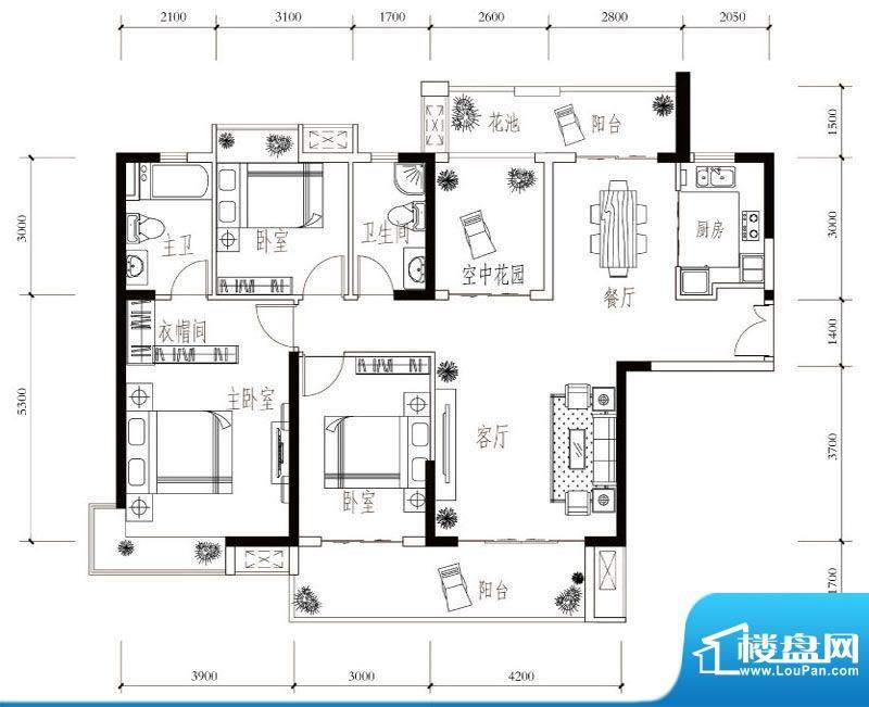 建华玖珑湾G-2 3室2面积:137.00平米