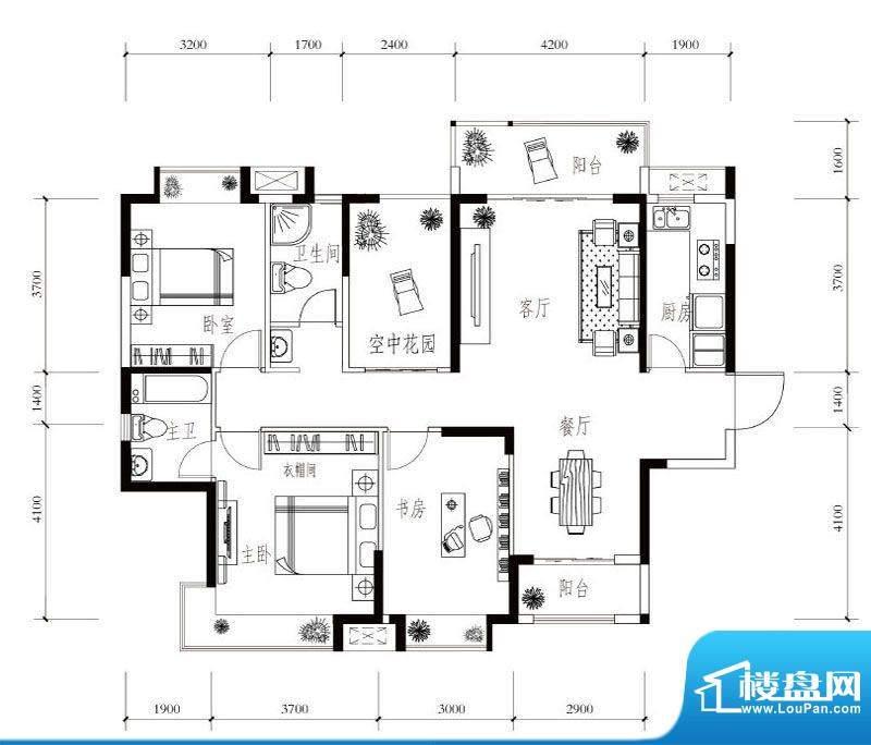 建华玖珑湾E-2 3室2面积:138.00平米
