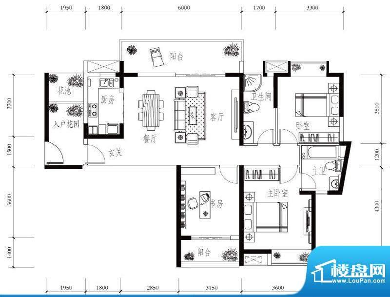 建华玖珑湾D-2 3室2面积:126.00平米