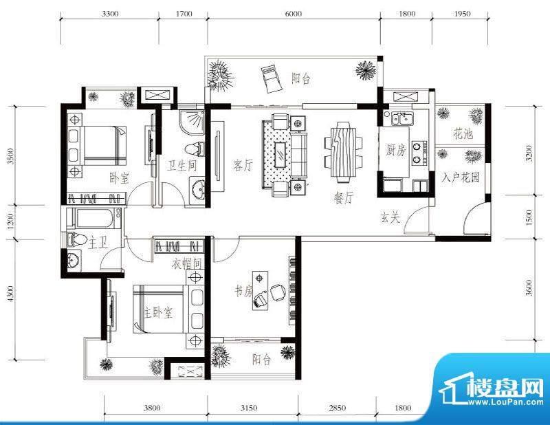 建华玖珑湾C-2 3室2面积:126.00平米