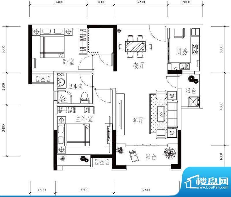 建华玖珑湾A-2 2室2面积:89.90平米