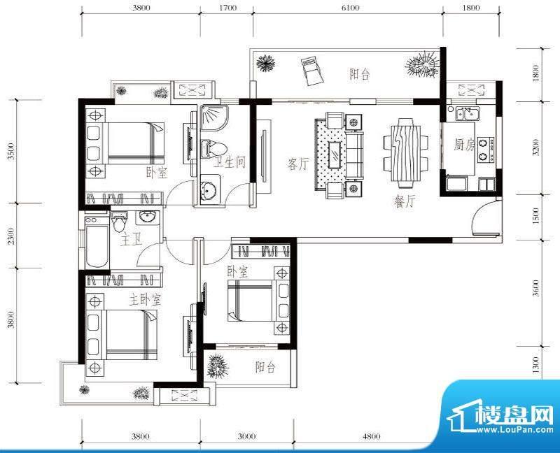 建华玖珑湾B-2 3室2面积:124.00平米