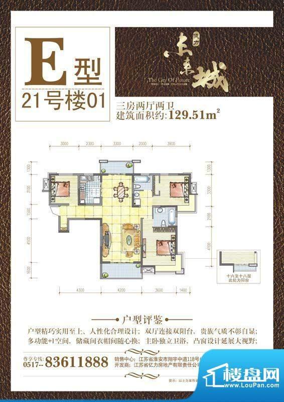 亿力未来城E户型 3室面积:129.51平米