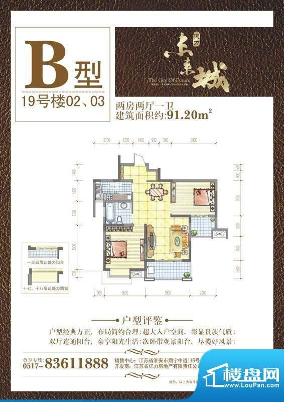 亿力未来城B户型9面积:91.20平米