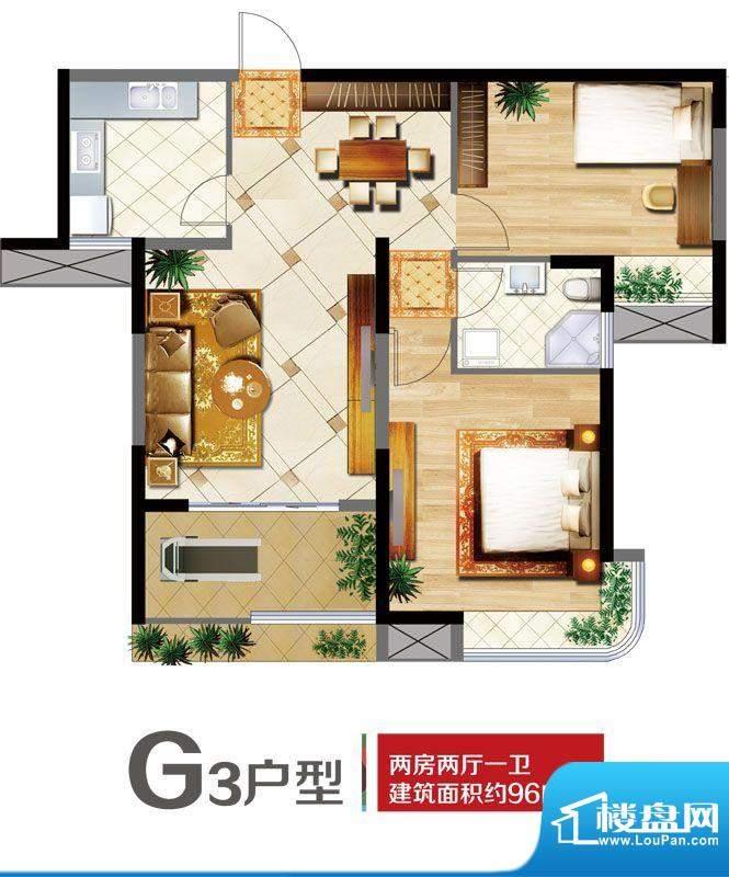 明发摩尔城G3户型 2面积:96.00平米