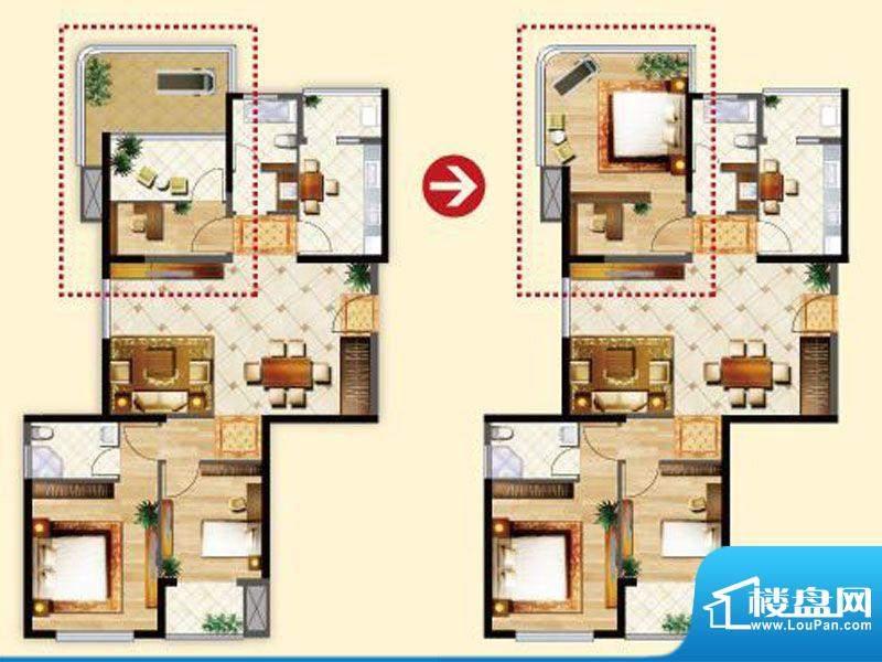 明发摩尔城J4户型3房面积:111.00平米