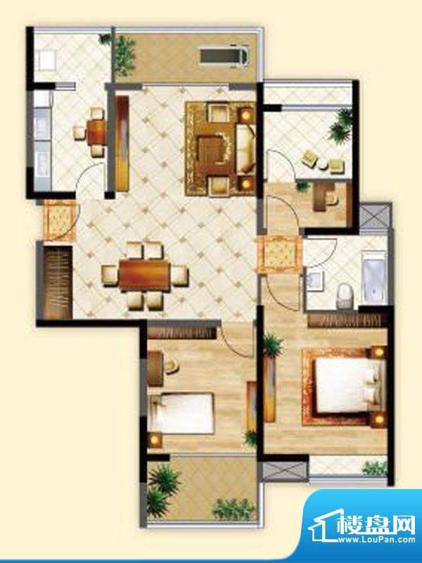 明发摩尔城J3户型2房面积:87.00平米