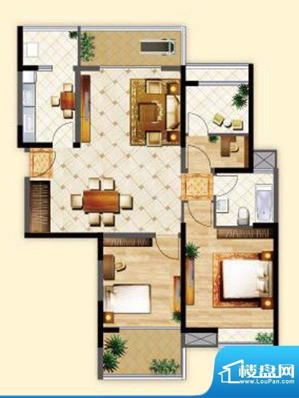 明发摩尔城J2户型3房面积:110.00平米