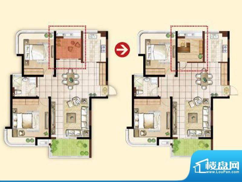 明发摩尔城D1户型2房面积:102.00平米