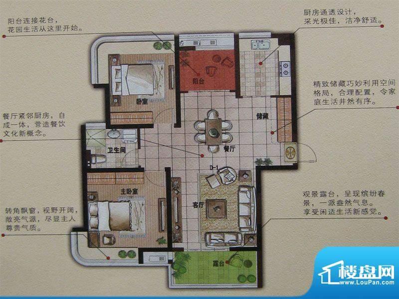 明发摩尔城D1 2室2厅面积:95.94平米