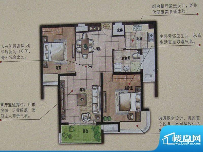 明发摩尔城D3 2室2厅面积:87.04平米