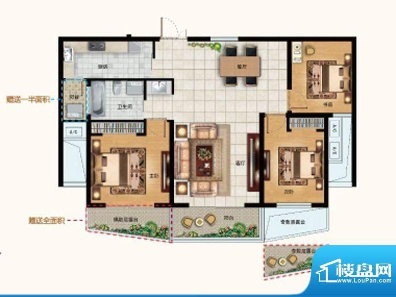 水韵天成B2户型 3室面积:106.00平米