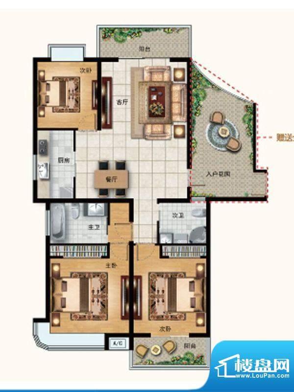 水韵天成B3户型 3室面积:130.00平米