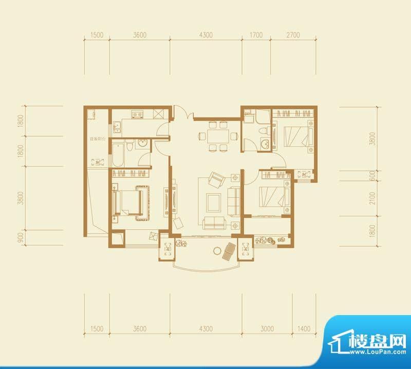 融侨华府高层B4户型面积:112.00平米