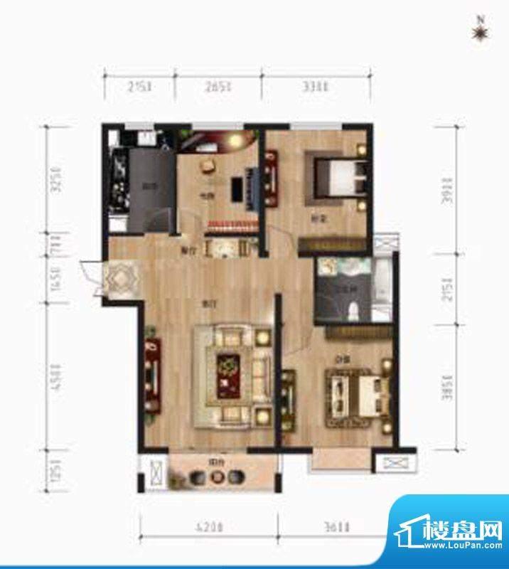 茂华国际汇107㎡户型面积:107.00平米