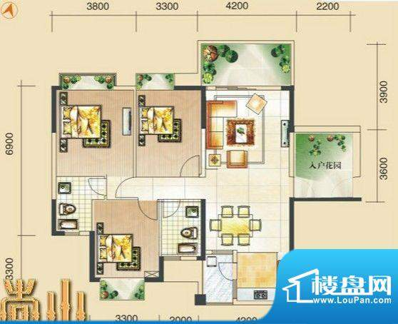 尚山未命名5 3室2厅面积:126.24m平米