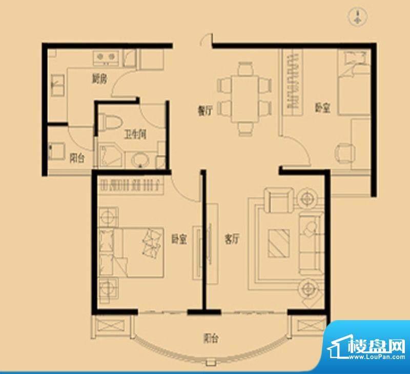 北京如意国际花园D户面积:86.00平米